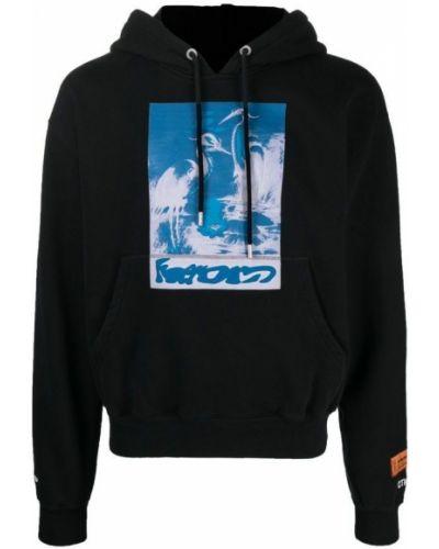 Czarny długi sweter z kapturem z długimi rękawami Heron Preston