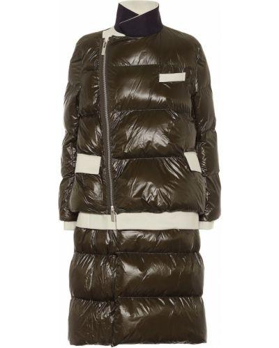 Зеленое стеганое шерстяное пальто Sacai