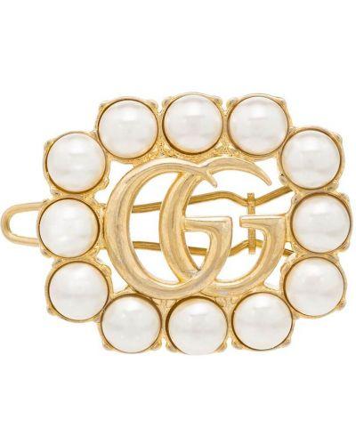 Spinka do włosów metal złoto z perłami Gucci