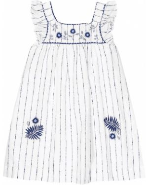 Белое хлопковое платье в морском стиле в полоску Tartine Et Chocolat