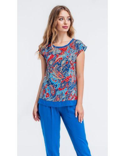 Синяя блузка с принтом Helena