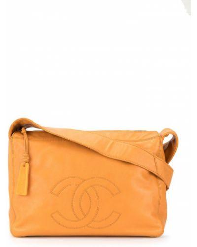 Кожаная сумка на плечо оранжевый Chanel Vintage