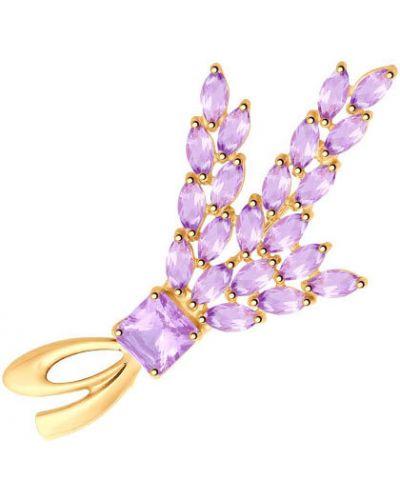 Брошь с камнями фиолетовый Sokolov