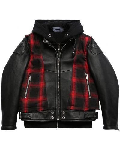Кожаный пиджак на молнии с капюшоном Diesel Kids
