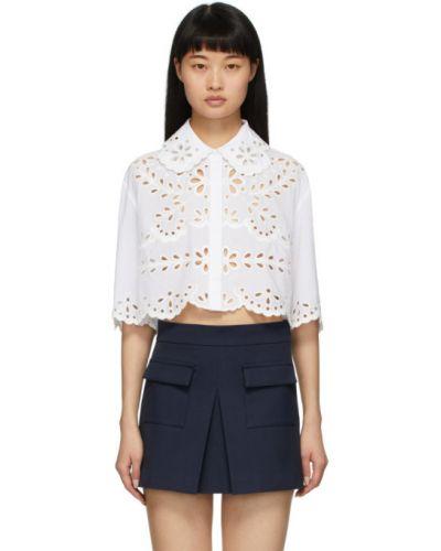 Рубашка с коротким рукавом белая с вышивкой Red Valentino