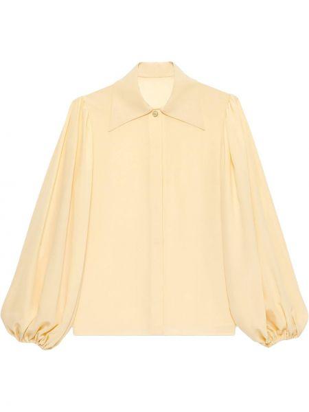Żółty z rękawami bluzka z kołnierzem Gucci
