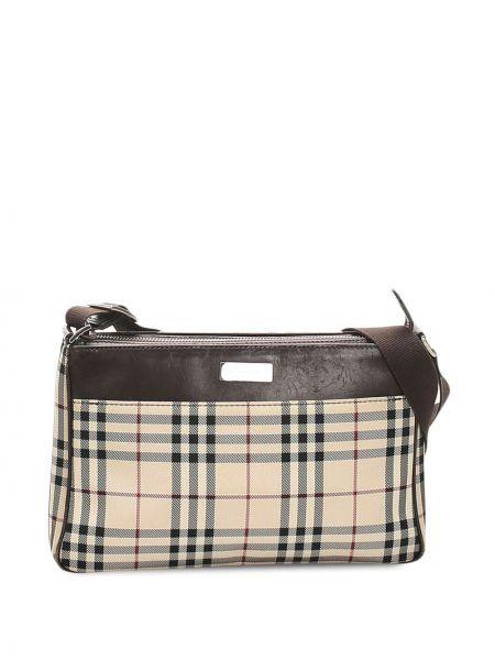 Коричневая парусиновая сумка через плечо на молнии с карманами Burberry Pre-owned