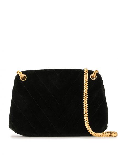 Бархатная черная стеганая сумка на цепочке Chanel Pre-owned