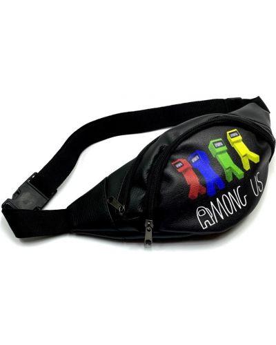 Черная кожаная поясная сумка с подкладкой Qq