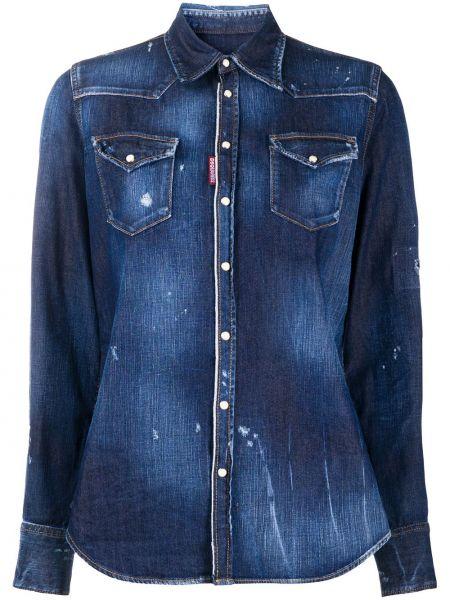 Джинсовая рубашка с манжетами с воротником с карманами на пуговицах Dsquared2
