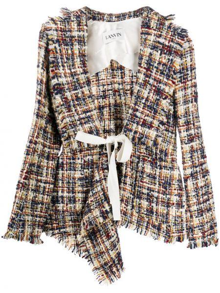 Шерстяная белая длинная куртка с опушкой Lanvin