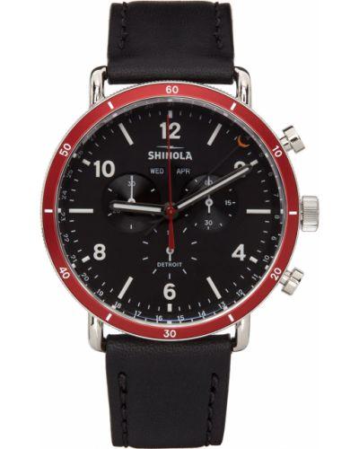 Czarny zegarek na skórzanym pasku srebrny z klamrą Shinola