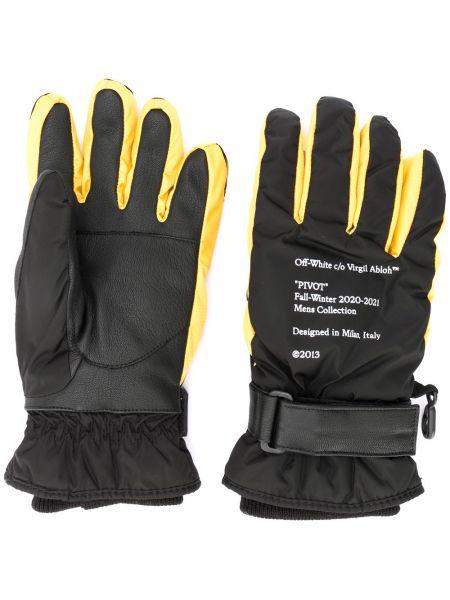 Czarne rękawiczki skorzane z printem Off-white