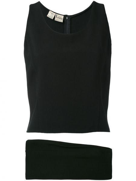 Черный костюм без рукавов винтажный на пуговицах Krizia Pre-owned