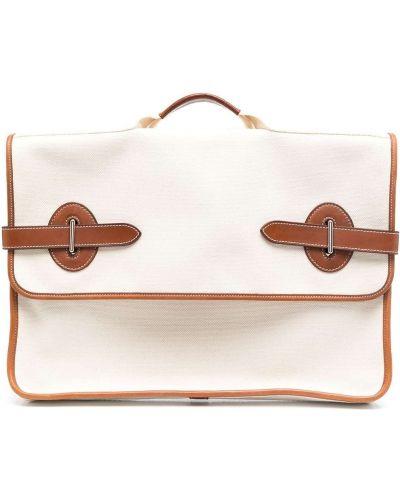 Кожаный коричневый портфель Hermes