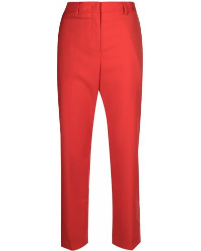 Шерстяные красные прямые укороченные брюки Paul Smith