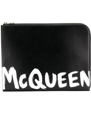 Кожаный черный клатч на молнии со шлицей Alexander Mcqueen