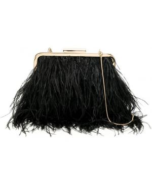 Золотистая черная сумка на плечо с перьями Isla