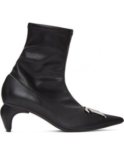 Czarny buty obcasy z prawdziwej skóry z klamrą z ostrym nosem Misbhv