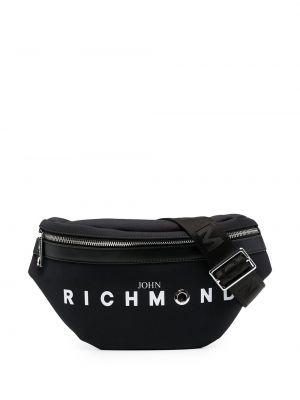 Черная поясная сумка на молнии с подкладкой John Richmond