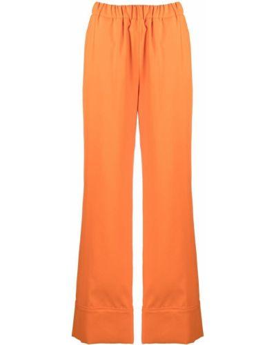 Оранжевые с завышенной талией брюки с поясом Sara Battaglia