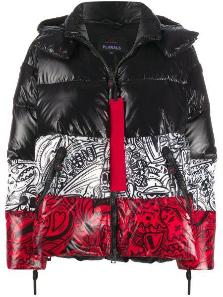 С рукавами черная куртка с капюшоном с карманами с перьями Peuterey