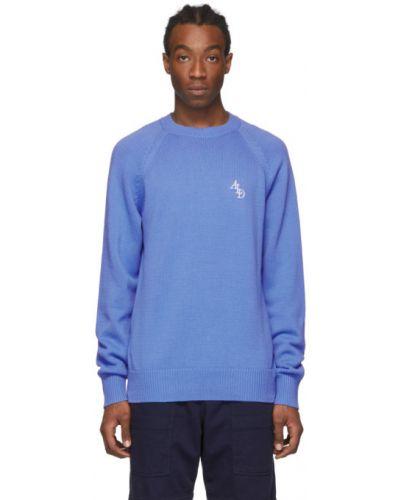 Niebieski długi sweter z haftem bawełniany Aime Leon Dore