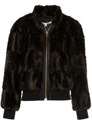 Коричневая длинная куртка из искусственного меха с манжетами Veronica Beard