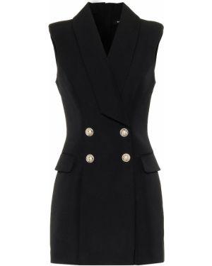 Платье мини шерстяное черное Balmain