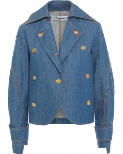 Ватная синяя джинсовая куртка двубортная Lanvin