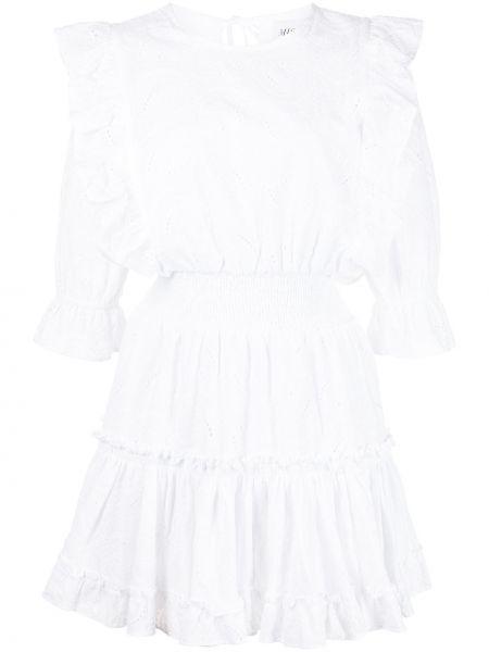 Белое платье мини с поясом с оборками Misa Los Angeles