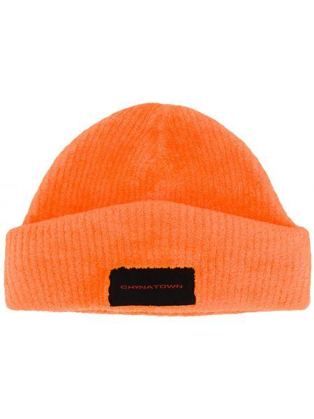 Prążkowany pomarańczowy czapka beanie z haftem Alexander Wang