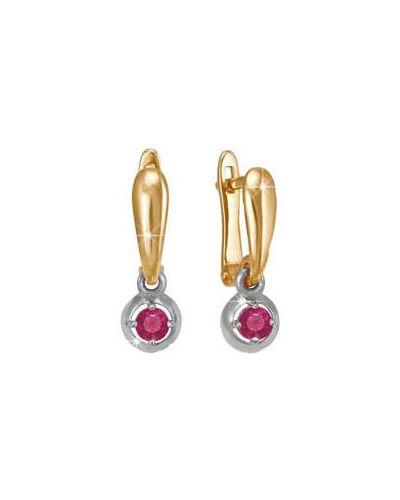 Золотые серьги с фианитом с камнями кюз дельта