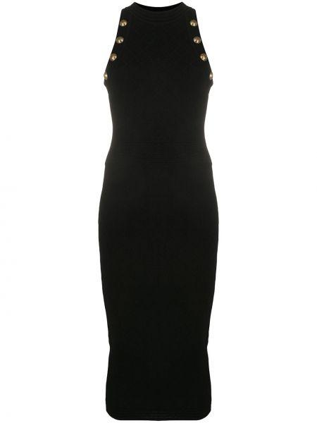 Złota czarna sukienka midi bez rękawów Balmain