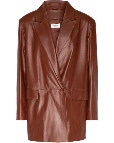 Прямой кожаный коричневый пиджак Izeta