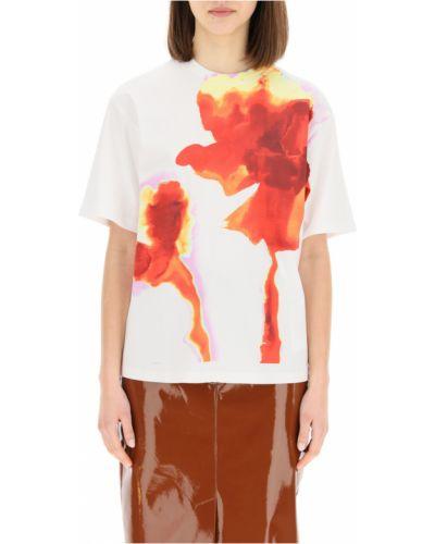 Biała t-shirt w kwiaty Sportmax