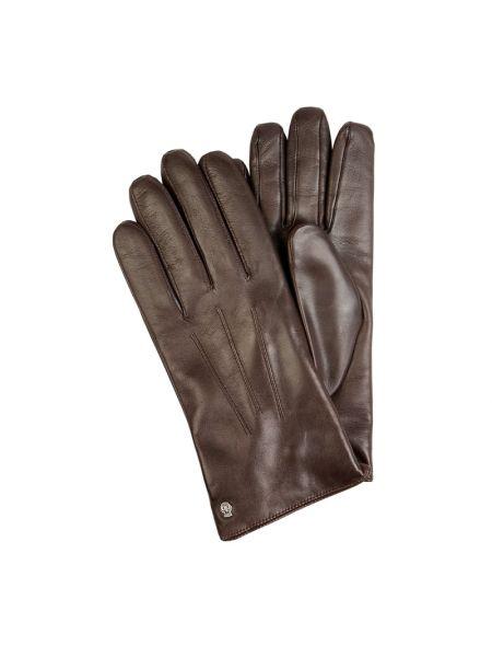 Brązowy skórzany rękawiczki z nitami Roeckl