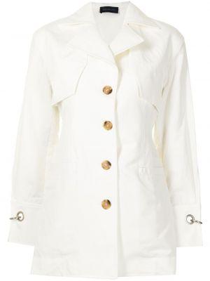 Белый удлиненный пиджак с воротником на пуговицах Eudon Choi
