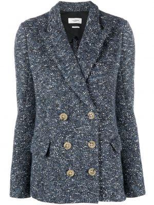 Синий удлиненный пиджак двубортный с карманами Isabel Marant étoile