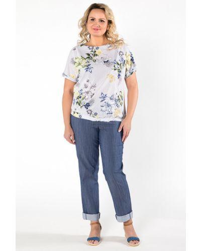 Блузка с коротким рукавом в полоску с цветочным принтом Virgi Style
