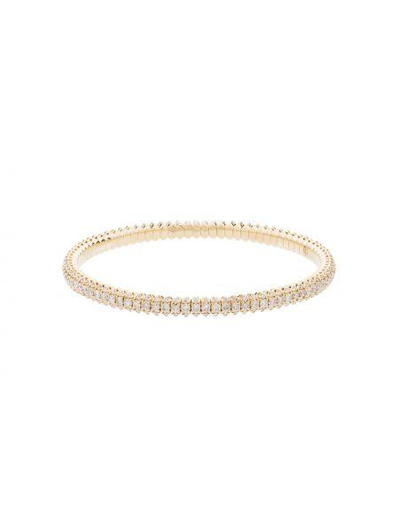 Золотистый желтый золотой браслет с бриллиантом без застежки Jacquie Aiche