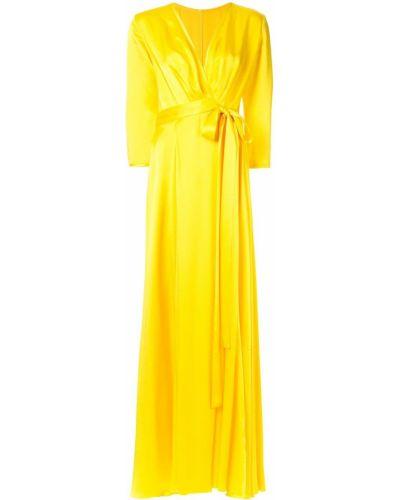 Платье с поясом с V-образным вырезом желтый Rhea Costa