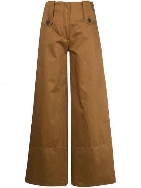 Коричневые свободные брюки свободного кроя Delada