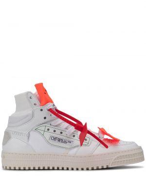 Кожаные белые кроссовки на шнуровке Off-white