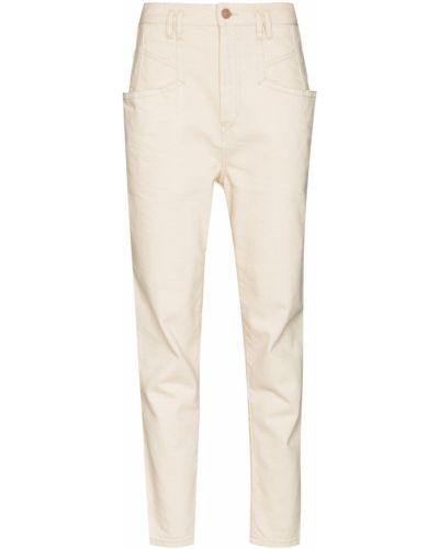 Beżowe jeansy z wysokim stanem bawełniane Isabel Marant