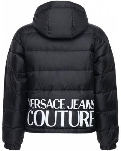 Czarna kurtka z kapturem z printem Versace Jeans Couture