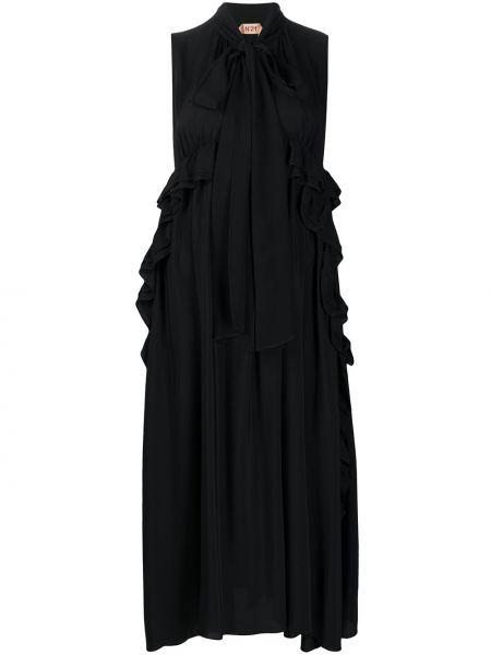 Czarna sukienka asymetryczna z jedwabiu N°21