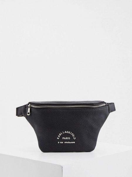 Поясная сумка кожаная черная Karl Lagerfeld