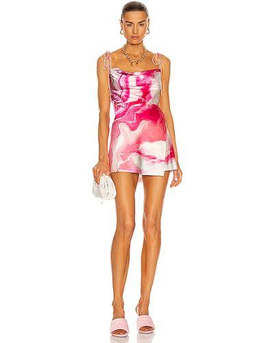 Różowa sukienka na imprezę koronkowa z jedwabiu Retrofete