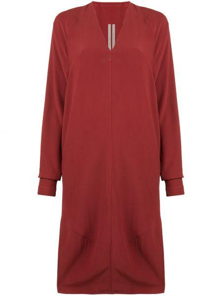 Prosto sukienka midi z długimi rękawami z dekoltem w szpic z wiskozy Rick Owens